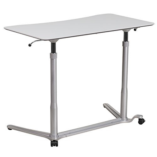 Flash Furniture Sit-Down, Stand-Up Light Gray Computer Ergonomic Desk with 37.375''W Top (Adjustable Range 29'' - 40.75'')