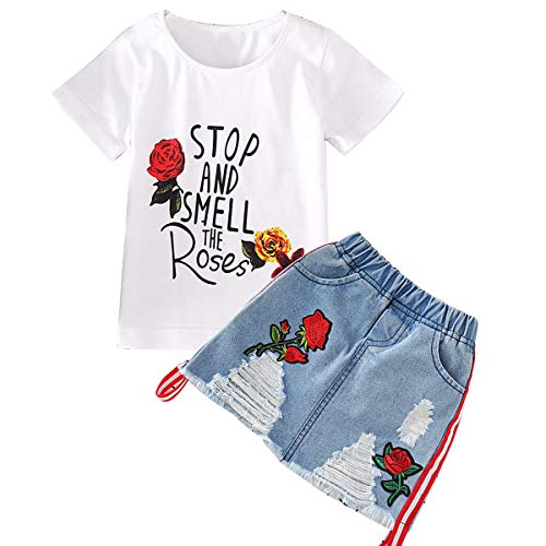 Borlai Mädchen Sommer Kleidung Set Stickerei Rose Blume T-Shirt + Jeansrock 2-7 Jahre