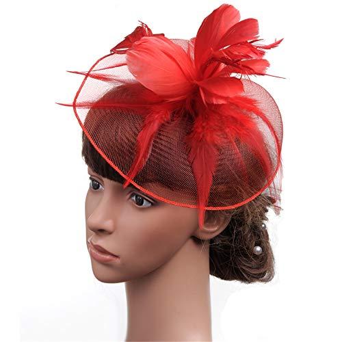 Chapeau De Fascinators Fascinator Tête En Épingle À Cheveux Avec Chapeau Lin Mariée Chapeau Thé De Mariage De Mariée Chapeau De Fête Chapeau Chapeau Pour Cocktail Royal Ascot ( Color : Red )