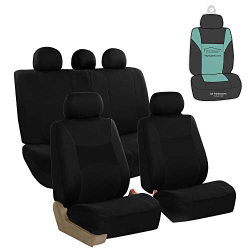 FH Group FB030115 Light & Breezy Flat Cloth Full Set Car Seat Covers Set, Airbag & Split Ready w. Gift, Solid Black- Fit Most Car, Truck, SUV, or Van
