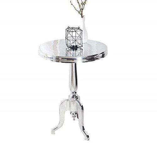 Tisch COUCHTISCH BAROCKTISCH BAROCK Stil REPRO ANTIK Look RUND Silber ALU Höhe.75cm