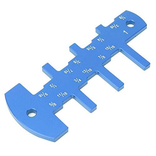 Medidor de carpintería Escala fácil de leer Medidor de profundidad de enrutador para sierra de mesa de enrutador para bricolaje para carpintería Marcado láser de aluminio sólido(azul)
