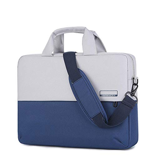 Men's and Women's Clamshell Laptop and Tablet Shoulder Bags, Business Bag briefcases with Handles, specifically Designed to Hold 15-15.6 inches, black-15.6in_Contrast_Color-Blue