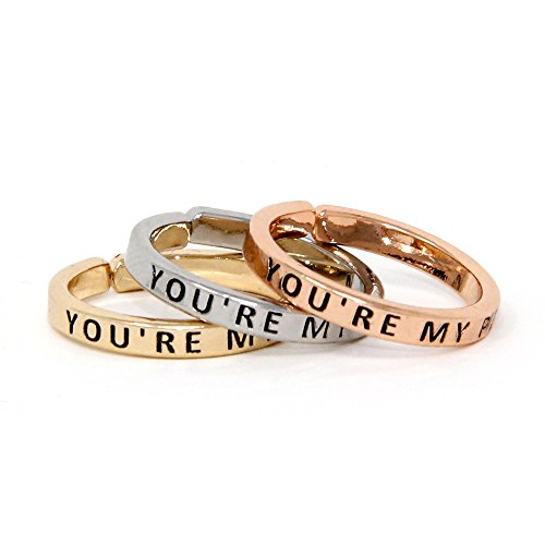 Me Plus Inspirational Positive Message Engraved Thin Finger Opening Rings 3 in 1 Set - 28 Different Phrases (You're My Person)