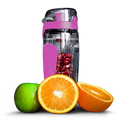 fruiti-n\'fuser Trinkflasche | Wasserflasche mit Fruchteinsatz | Sporttrinkflasche 1L | Sportflasche aus Tritan (BPA-frei) | Trinkgefäß in pink