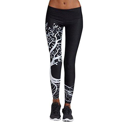 Zarupeng Damen Druckten Sport Yogahose, Lange Stretch Traininghose Fitness Legging Athletische Hosen (3XL, Schwarz)