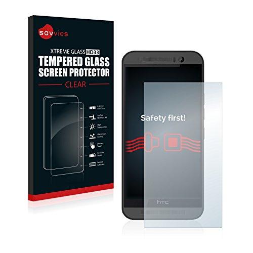 savvies Cristal Templado Compatible con HTC One M9 Protector Pantalla Vidrio Proteccion 9H Pelicula Anti-Huellas