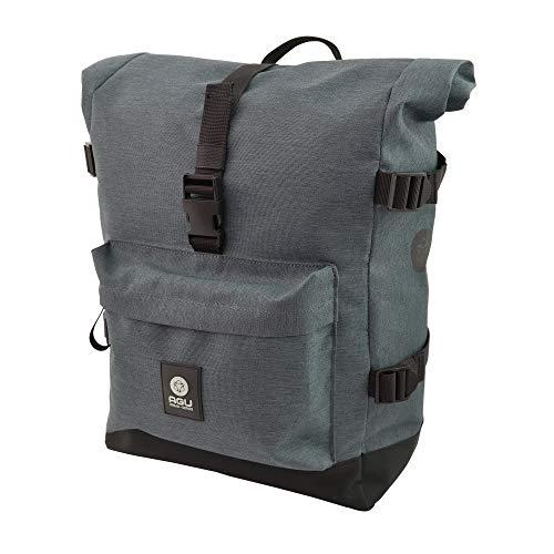 AGU Urban Trend H2O Roll-Top Fahrradtasche für Gepäckträger, 14L Seitentasche Fahrrad mit Schultergurt, Wasserabweisend, 100% Recyceltes Polyester - Grau
