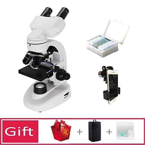 Microscopio Compuesto con luz Dial de Filtro de 6 Colores Microscopio Optico con Dos Fuentes de luz Longitud Focal Ajustable para Estudiantes, Adultos, Principiantes,D
