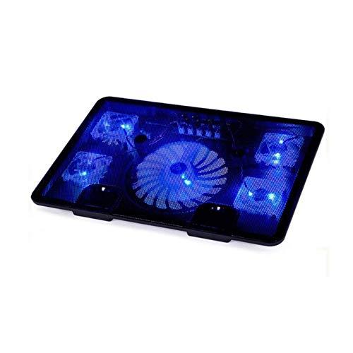 Bdesign Soporte de refrigeración por computadora portátil Ultra silencioso con 5 Ventiladores en el Almohadilla de enfriamiento para portátiles de Juego con Luces LED Rojas, 2 Puertos USB, Soporte de