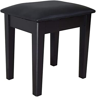 Facilehome Vanity Stool Dressing Stool Makeup Chair Bench with Cushion and Solid Legs for Bedroom Closet Dressing Room,Black
