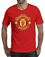Men's Crew Neck Sleeve Short Shirt Cotton Manchester United Casual Solid Tops Red Large