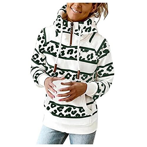 Women Casual Zipper Crewneck Hoodies Sweatshirt Color Block Striped Printed Loose Long Sleeve Pullover Tops Shirts