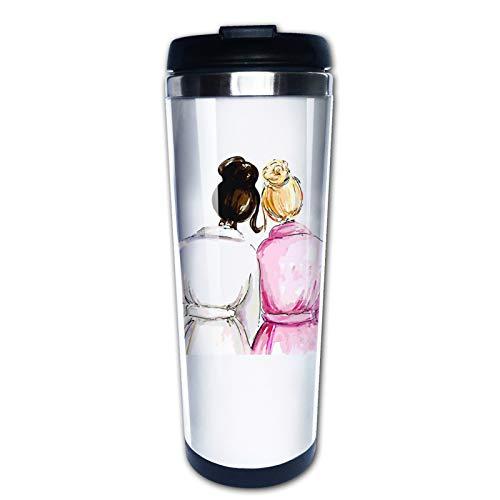 Hochzeitsgeschenk für Trauzeugin von Braut, Today My Maid Of Honor Forever My Sister, Reisebecher mit Deckel, Thermoskanne Kaffeetasse Vakuum-Isolierflasche Edelstahl Hydro Wasserflasche 425 ml