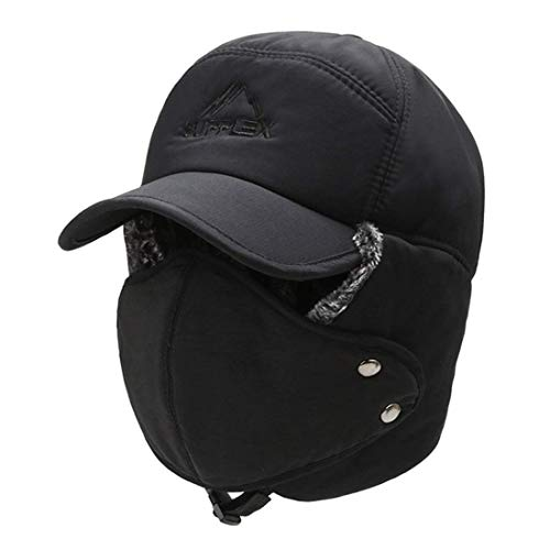 Nicexx Mens Trapper Hats Warm Baseball Caps for Cold Weather Hat with Ear Flaps Face Cover (Black)