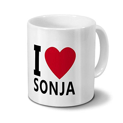 printplanet Tasse mit Namen Sonja - Motiv I Love Sonja - Namenstasse, Kaffeebecher, Mug, Becher, Kaffeetasse - Farbe Weiß