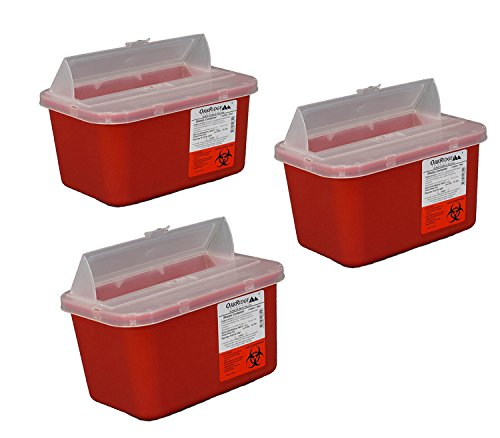 Oakridge One Gallon Sharps Containers with Pop up Lid (3 Pack)