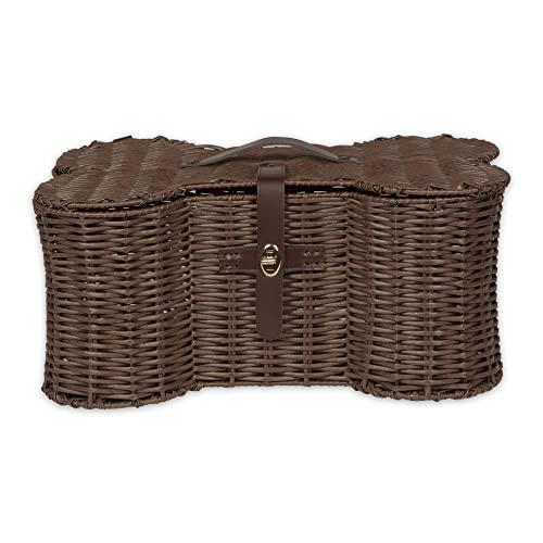 Bone Dry Pet Storage Collection Toy Basket, Small, 17.5x11x7.5', Brown Plastic Wicker