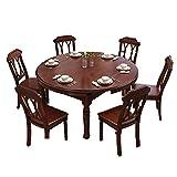 Mesa de Comedor, combinación de Mesa y Silla de Madera Maciza Juego de 9 Piezas Mesa de Comedor telescópica Multifuncional Muebles de Cocina 138X138X77cm,Marrón,1 Table 6 Chairs