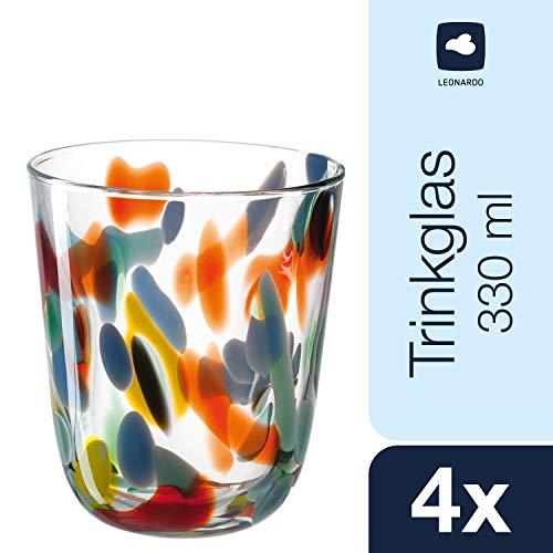 Leonardo Trinkglas Portofino, Wasserglas-Set mit eingearbeitetem Bunt-Glas, Gläser-Set mit 330-ml Füllvolumen, 4-teilig, 020846