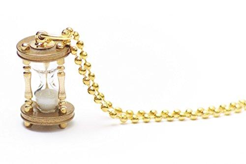 Miniblings Sanduhr FUNKTIONSFÄHIG Halskette - Handmade Modeschmuck I Kette mit Anhänger Länge: 80cm -Eieruhr Uhr Zeit golden Miniatur