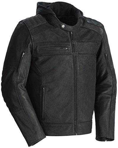 TourMaster Men's Blacktop Leather Motorcycle Jacket (Black, Large)