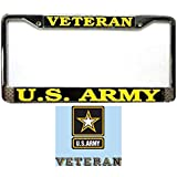 Butler Online Stores Army Veteran License Plate Frame Bundle with US Army Veteran Decal(Army Star)