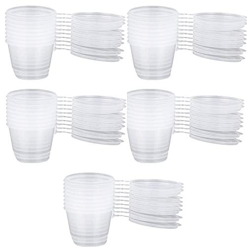 50 Piezas Vaso de plástico para salsa, Mini vasos de plástico transparentes, Cajas De Salsa De Plástico, para Guardar Snacks, Ingredientes (Blanco Transparente)