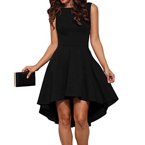 MERICAL Cuello Redondo único de la Moda de Las Mujeres Vestido de la Colmena Vestido sin Espalda Hepburn Mini Vestido(Negro,Large)
