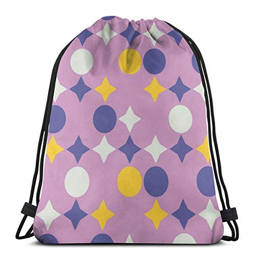 XCNGG Bolsa con cordón Bolsa con cordón Bolsa portátil Bolsa de gimnasio Bolsa de compras Bundle Backpack Outdoor Shopping Knapsack Century Retro Geometric Pattern Rope-Pulling Bag Sports Bag Suitable