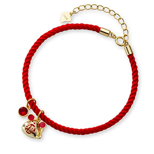 Helen de Lete S925 Sterling Silver The Rat Year Lucky Mouse String Bracelet