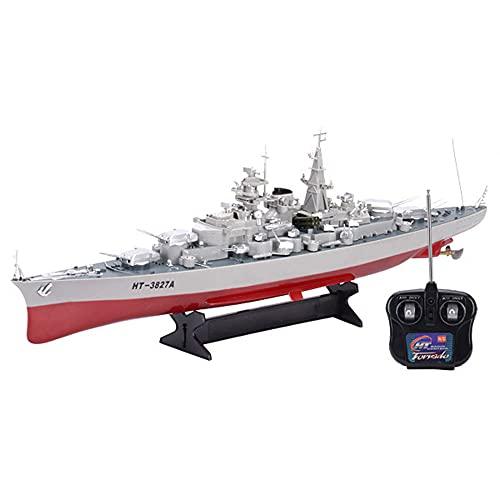 QHYZRV Barco De Peces, Modelo De Portaaviones Militar, Adornos De 2,4 GHz, Control Remoto Inalámbrico, Barcos De Guerra Marítimos, Adecuados para Piscinas Y Lagos, Juguetes Acuáticos De Verano,