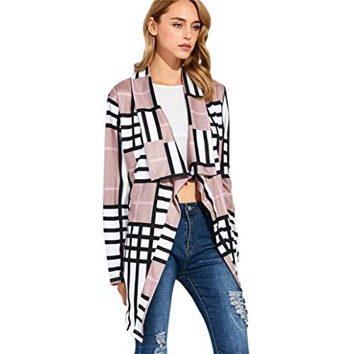 HX fashion Vest Dames Lente Herfst Jas Comfortabele Maten Elegante Mode Vintage Casual Comfortabel Geruit Lange Mouw Onregelmatige Asymmetrische Bovenkleding Trenchcoat