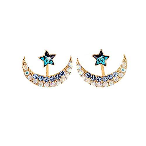 TaoNaisi Pendientes cristal forma estrella luna mujer