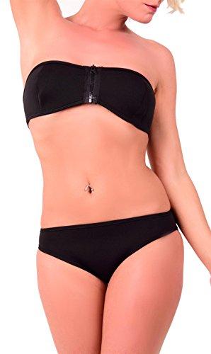 Arunta Neopren Bandeau Surf Bikini Set mit Reißverschluss vorne Schwarz XL