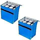 HAC24 2er Set Mini Kühltasche Isoliert Blau Für 6 Dosen Thermotasche Klettverschluss Campingtasche Isoliertasche Kühlkorb Camping Picknicktasche