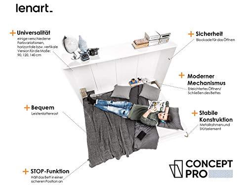 Mirjan24  Schrankbett Concept Pro II Horizontal, Wandklappbett inkl. Lattenrost, Bettschrank, Wandbett, Schrank mit integriertem Klappbett, Funktionsbett, Farbauswahl, (140×200 cm, Weiß) - 2