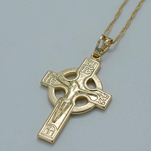 Nobrand Icxc Russisch-Orthodoxe Kirche Kreuz Anhänger Halskette Frauen Gold Farbe Kreuze Schmuck Kreis Kreuz Christentum