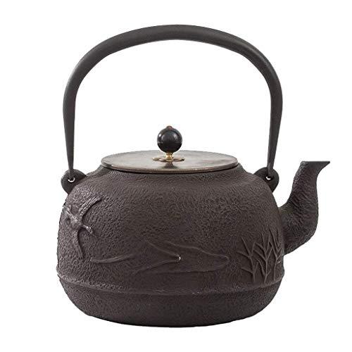 XHCP Tetera cerámica 1,8 L grande de hierro fundido antiguo, esmaltado, tetera de hierro fundido, tetera de hierro fundido esmaltado, interior con revestimiento de esmalte.