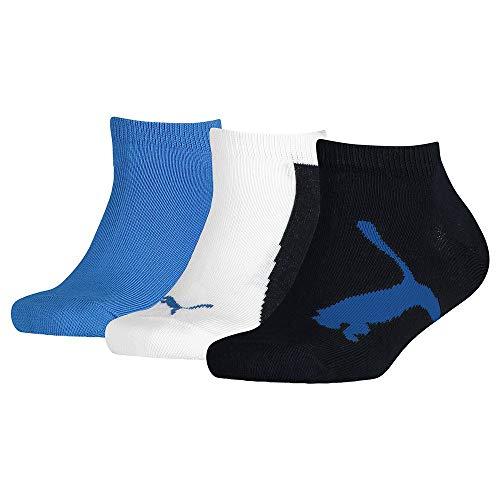 PUMA Kids' BWT Sneaker-Trainer Socks (3 Pack) Calcetines, azul marino/blanco/azul fuerte, 23-26 Unisex niños