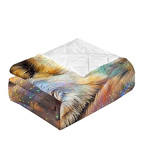 Oduo 3D Microfibra Colcha Bouti Cubrecama Multiusos Suave Verano para Cama de Matrimonio, Lavable Acolchada Edredón Ligero Manta para Todas Las Estaciones (Lobo interestelar,100x150cm)