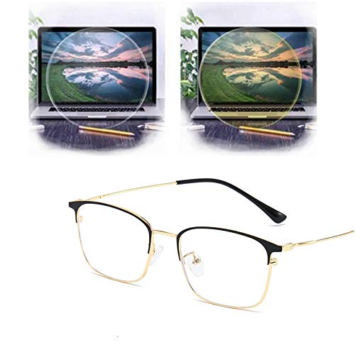 xiaomomo521 Gafas Penetrantes, Gafas MetáLicas De Ojo De Gato para MiopíA, Gafas con Bloqueo De Luz Azul para Mujeres/Hombres, Gafas para Juegos Anti Fatiga Marco de Oro Negro