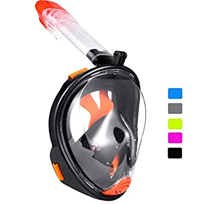 Ranersports 180° GoPro Compatible Full face Snorkel mask with Large Viewing Area,See More Water World Than Traditional Snorkeling Masks (Panoramic Black/Orange, Large/Extra Large)