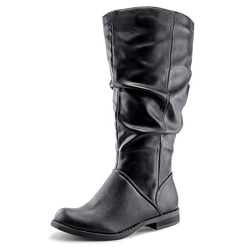 JABASIC Damen kniehohe Slouch Stiefel breite Wade Stiefel, Schwarz (schwarz), 37 EU