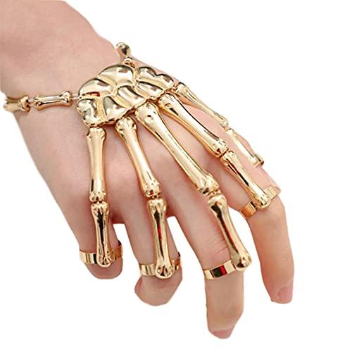 AOJIE Pulsera Deathbringer, pulsera de hueso de mano punk, esqueleto de Halloween, horror de mano, moda para mujeres, niñas, hombres, niños, accesorios de regalo