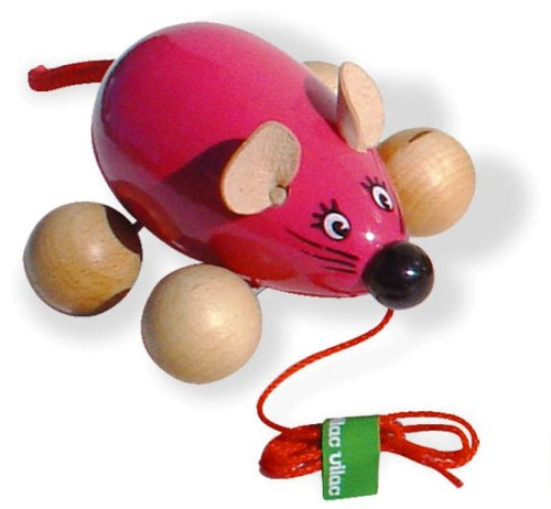 Vilac - 2050 Giocattolo in legno da trainare, Lisa la topina, colori assortiti
