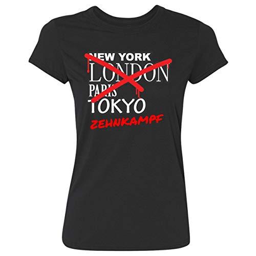 JOllify Frauen T-Shirt Zehnkampf G6265 - Farbe: schwarz - Design 3: Graffiti Streetart New York - Größe M
