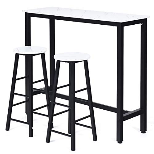COSTWAY 3-Piece Bar Table Set with 2 Stools, Industrial Counter Dining Table Set, Pub Height Dining Table Set with Faux Marble Tabletop and Metal Frame, for Kitchen Dining Room (White)