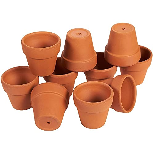 Terra Cotta Pots with Drainage Holes for Plants (2.6 in, 10 Pack)