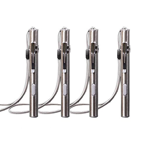 USB Rechargeable Penlight, 4Pcs Stainless Steel High Lumen Mini LED Tactical Penlight Flashlight with Battery and Cable